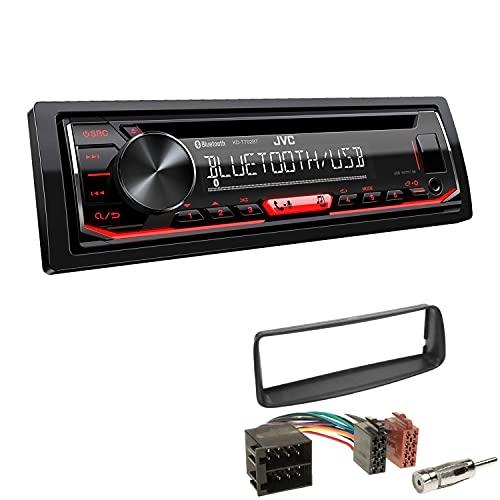 JVC KD-T702BT mit Einbauset 1-DIN Bluetooth USB AUX CD Autoradio passend für Peugeot 206 206CC 1998-2007 schwarz