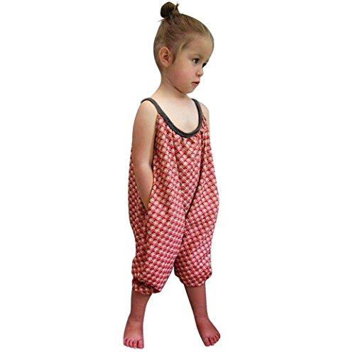 Bekleidung Longra Kleinkind Kids Baby Mädchen Riemen Druck Strampler Overalls Stück Hosen Jumpsuits Mädchen Sommerkleidung (3-8Jahre) (140CM 7-8Jahre, Red)