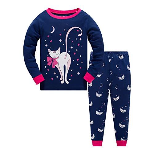 Qzrnly Mädchen Schlafanzug Giraffe Baumwolle Kinder Langarm Pyjama,Mehrfarbig (Pattern 4),4 Jahre