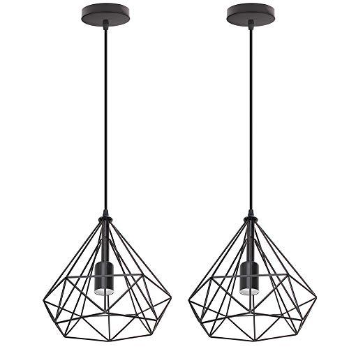 Kit de 2 Lámpara de Techo Colgante Retro Diamante Design Ø25 cm...