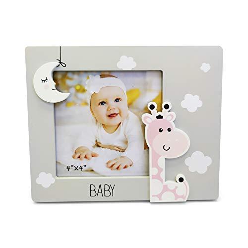 Lote de 10 Portafotos de madera Jirafa baby- Portaretratos, porta fotos para Detalles, regalos y recuerdos de Bautizos