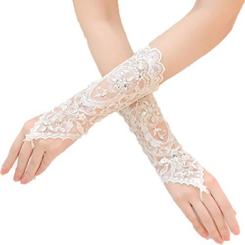 ShineGown Damen Lange Häkelspitze Perlen Fingerlose Braut Hochzeit Handschuhe Weiß Elfenbein