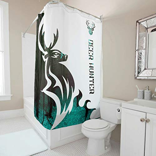 Knowikonwn Deer Hunter Shower Curtain Pattern Universal Fabric Bath Curtains Rings Inclued - for Bathroom Decoration white3 150x180cm