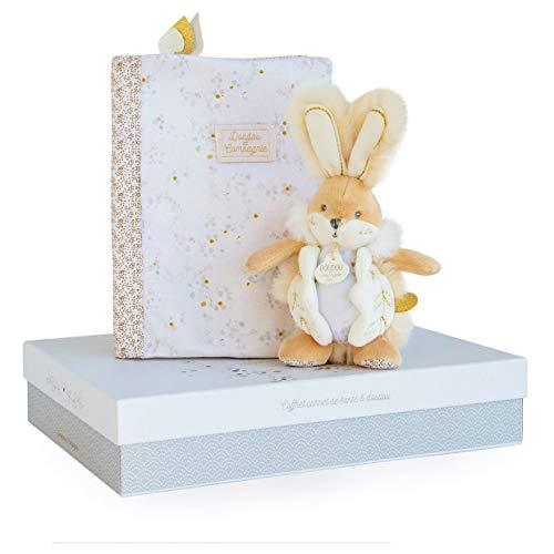 Doudou et Compagnie DC3497 KANINCHEN ZUCKER wit - Box beschermt gezondheidsboekje + deken, beige