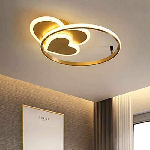 Lámpara de techo LED de 50 W, moderna, creativa, diseño de corazón, color dorado