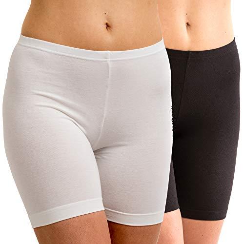 HERMKO 5780 2er Pack Damen Longpant - knielanger Pant, Farbe:weiß/schwarz, Größe:52/54 (XXL)