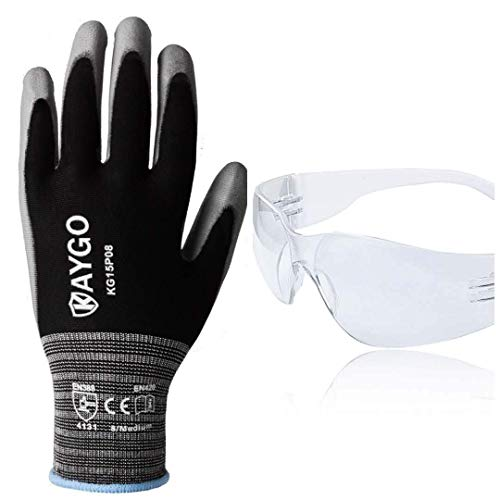 KAYGO Work Gloves KG15P and Safety Glasses KG501TW, Ideal for General Duty Work