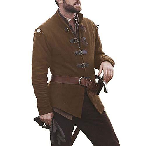 Vertvie Herren Mittelalterlicher Mantel Regular Fit Viktorianisch Wikinger Pirat Outwear Karneval Cosplay Kleidung Oberteiles Tops Langarm Coat(Dunkelbraun, L)