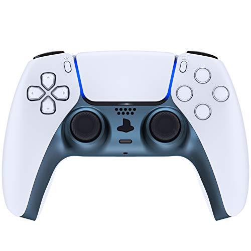 eXtremeRate Carcasa Decorativa para Mando de PS5 Cubierta de Placa Reemplazable con Anillos de Acento para DualSense 5 Protector Placa Cover para Control de Playstation 5 (Azul Metálico)