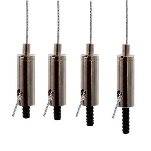Drahtseilhalter/Gripper 12, Außengewinde M4 in verschiedenen Längen, Seil Ø 0,8-1,2mm | vernickelt (Gewindelänge 10mm)