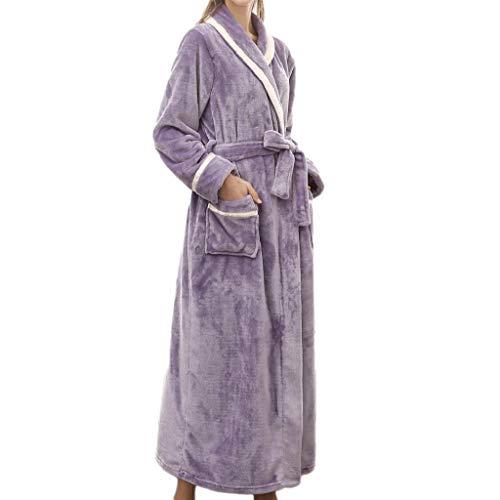 SHOBDW Albornoz Mujeres Cálido Loungewear Alargado Empalme Albornoz Mantón De Felpa Mullida Casa Ropa De Mantón Bata De Dormir De Manga Larga con Bata(Púrpura,3XL)