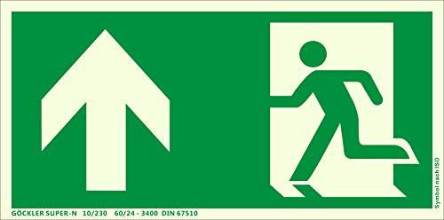 Notausgang Schild ISO 7010 gem. ASR A1.3, in 300x150 mm Kunststoff Nachleuchtend selbstklebend SUPER-N, oben-Notausgang-Flucht-Rettungswegzeichen
