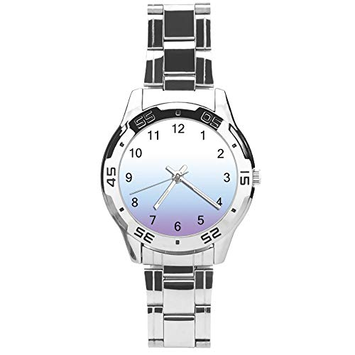 Classic Three Hand Quartz Watch with Stainless Steel Strap,Dial Modern White Gradient Purple Adjustable Automatic Strap,Silver,for Unisex,Best Gift (41mm) l36622pmlt1s