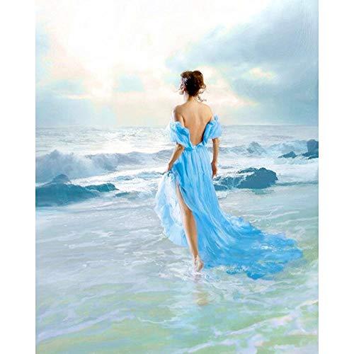 Ifoto Diy 5D Diamante Pintura Por Número Kit Rhinestone Bordado De Punto De Cruz Artes Manualidades Lienzo Pared Decoración(30X40Cm)-Mujer En Vestido Azul Junto Al Mar