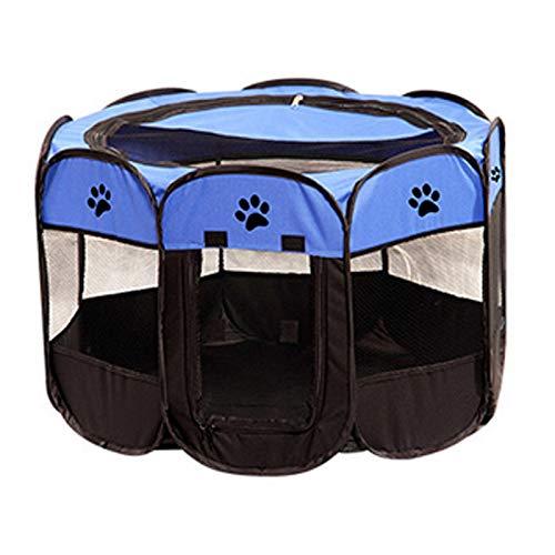 N\X Tragbarer, faltbarer Hunde-Laufstall, wasserdicht, für Hunde und Katzen, Greifschutz, achteckig, M58 x 90 cm, Azurblau