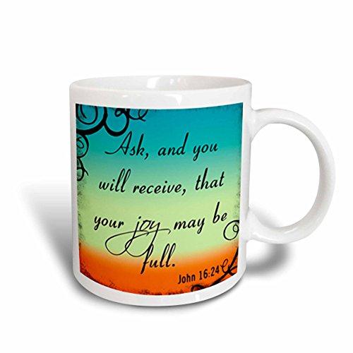 3dRose mit John 16–24Gradient mit Bibel Christlich Inspiration, Kaffeebecher, Keramik, Weiß, 10.16cm x 7,62x-Uhr