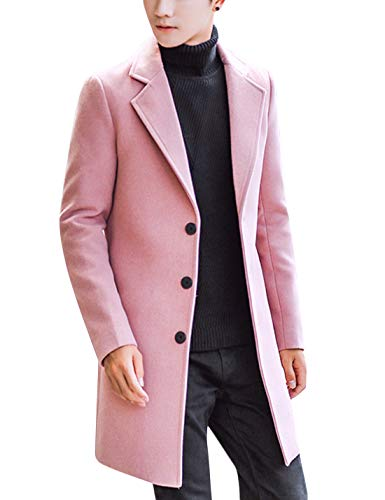 Springrain Men's Notched Lapel Single breasted Long Pea Coat Trench Coat (Pink, Medium)