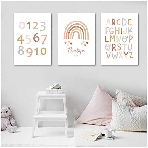 YQQICC ABC alfabeto cartel pared arte lienzo pintura arcoíris impresión guardería imagen nórdica decoración de habitación de bebé-40x50cmx3 Sin Marco