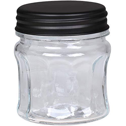 MACOSA CA61588-00 - Tarro de cristal redondo con tapa de metal, color negro, recipiente de almacenamiento, recipiente de cristal decorativo para cocina con diseño de surcos