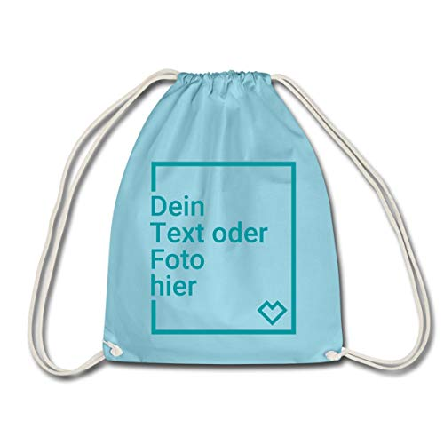 Spreadshirt Personalisierbarer Beutel Selbst Gestalten mit Foto und Text Wunschmotiv Turnbeutel, Aqua