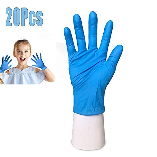 Mayyou 20 pezzi Guanti in lattice monouso blu per bambini Guanti in nitrile Guanti protettivi, universali per artigianato, pittura, giardinaggio, cucina, pulizia