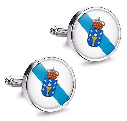 Gemelolandia | Gemelos de Camisa Magglass Bandera de Galicia 16mm Gemelos Originales Para Camisas | Para Hombres y Niños | Regalos Para Bodas, Comuniones, Bautizos y Otros Eventos