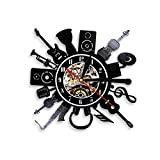 YYRY Relojes de Pared Guitarra eléctrica acústica Decoración de Arte de Pared Reloj de Pared con luz Nocturna LED Música Disco de Vinilo Reloj de Pared Banda de música Regalo 12 Pulgadas SDID-300