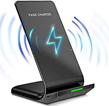 10W/7.5W/5W Fast Wireless Charger Stand for Samsung Galaxy S10/S10+/S10e/S9/ S8 /S8+/ S7 /S7 Edge Note 9/8 Qi Certified Charging Dock for iPhone 11 Pro Max/X/XS Max/XR/XS (Black)