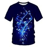 WPYDHM Azul Brillante Orbe Pareja Casual Deportes Color Camiseta Personalidad Patrón 3D Printing-M
