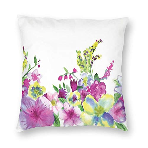 Lichenran Decorative Cushion Covers Hybrid Garden Floret Composition With Heathers And Stocks Abstract Art Square Throw Pillow Covers Pillowcases for Sofa Couch Living Room 50x50cm