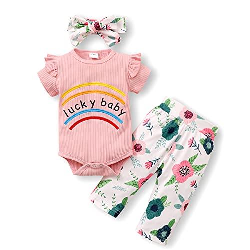 ZOEREA Ropa para Bebé Niña Recién Nacida Conjuntos Arcoíris Bordado Mono Body de Verano Manga Corta con Volantes + Pantalones Estampados 2 Piezas
