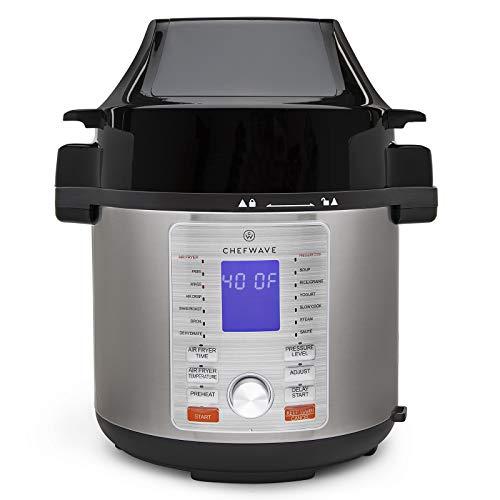 ChefWave Swap Pot 12-in-1 Pressure Cooker and Air Fryer Multi-Cooker, Slow Cooker, Rice/Grain Cooker, Yogurt Maker, Saute, Steamer, Warmer, Sterilizer, Soup Maker, Air Fryer Crisp, 6 Quart