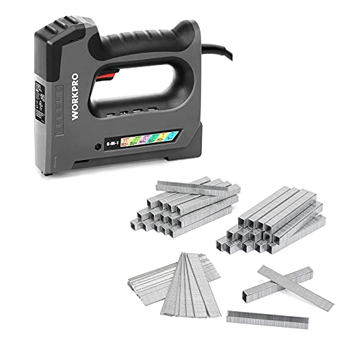 WORKPRO 6 in 1 Staple Gun, Electric Stapler Tacker, 110V Corded Brad Nailer & Heavy Duty T50 Staples and Brad Nails Combo Kit, 7500-Count, for DIY Project of Woodworking