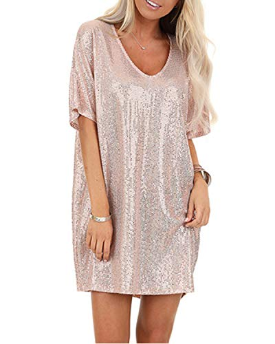 YOINS Damen Abendkleid Sexy Kleider Glitzer Kleid Glänzend minikleid sexy Damen Langarm Rundhals Cocktailkleid Bleistiftkleid Pink XL