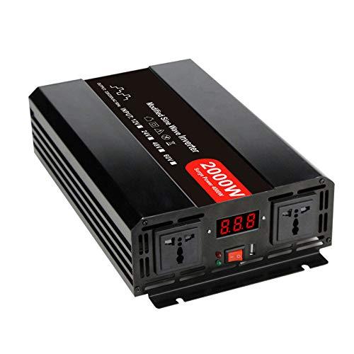 Inversor de corriente Onda sinusoidal pura-2000 Watt Convertidor 12v / 24V / 48V DC a 110V / 220V AC, 2 salidas AC, un puerto USB - 2 ventiladores de refrigeración-Inversor de potencia máxima 4000 W