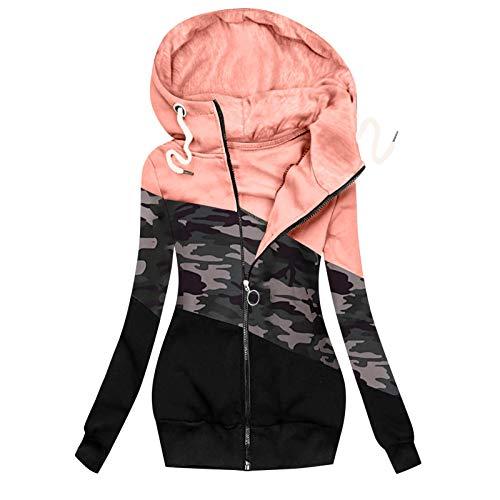 Lazzboy Winterjacke Frauen Winter Camouflage Spleißen Prints Jacke Reißverschluss Sweatshirt Langarm Mantel Sweatjacke Damen Lang Herbst Hoodie Mit Kapuze Rollkragen (Rosa,XL)