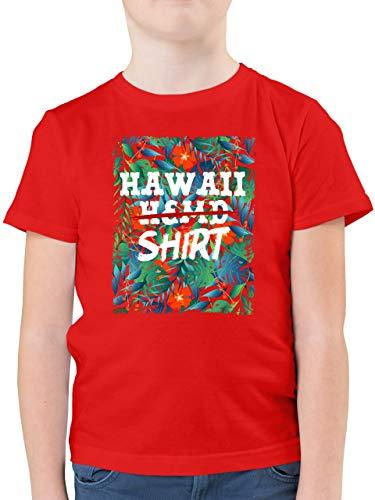 Karneval & Fasching Kinder - Hawaii Hemd Shirt - 128 (7/8 Jahre) - Rot - Kurzarm - F130K - Kinder Tshirts und T-Shirt für Jungen