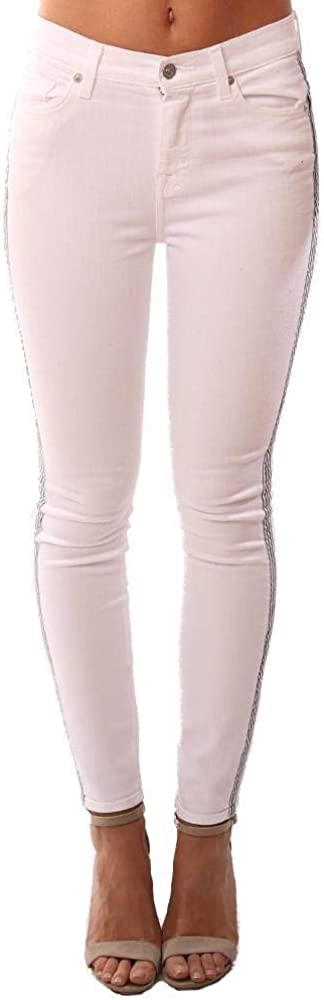 7 For All Mankind Denim High Waist Ankle Skinny Side Stripe White Jea - White - 29