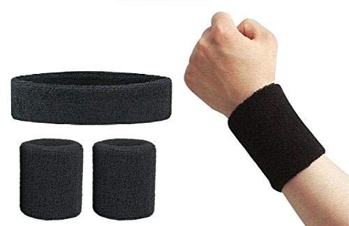 Style Along Black Outdoor Fitness Sports Sweatband Headband Yoga Gym Unisex Head Band and Wrist Band- Pack of 3