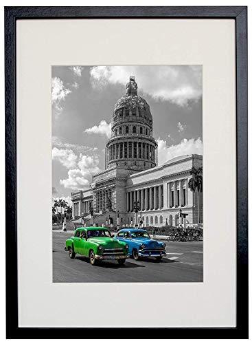 BD ART ( A3 Marco Diploma 29,7 x 42 cm Marco de Fotos con paspartu para Fotos 21 x 30 cm (A4), Negro
