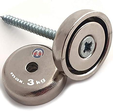 Neodym-Rundmagnet mit Karabiner-Haken Sehr starker Topf-Magnet von Magna-C /Ø 20 mm Ideal als Schl/üsselhalter