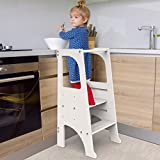 FUN & CARE Kitchen Step Stool for Kids with Safety Rail, Wooden Learning Toddler Tower, 3 Adjustable Platform, 2 Steps Design, Anti-Slip, Steady Feet - White