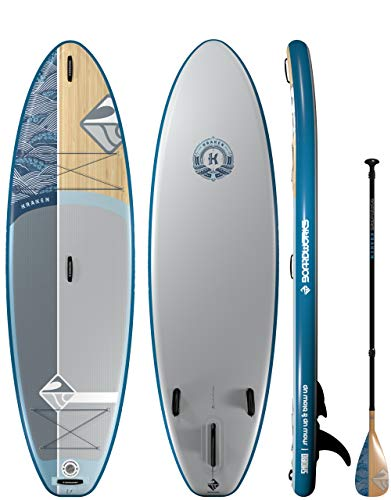 Boardworks SHUBU Kaken All-Water/Surf Inflatable Stand-Up Paddle Board (iSUP) | SUP Package Includes Pump, Three Piece Paddle and Roller Bag (SUP) Complete Kit | 10'