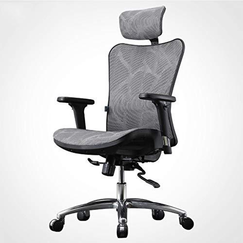 OUG-Chaise de bureau Bürostuhl/Drehstuhl, atmungsaktives Mesh, doppeltes Rückengestell, ergonomische, frei drehbare Kopfstütze, Farbe optional (grau, schwarz), geeignet für Büroangestellte