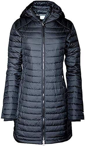 Columbia Women s White Out Mid Omni Heat Long Hooded Light Jacket Coat Puffer Plus Regular Black product image