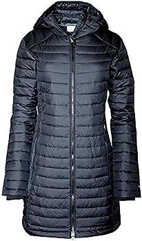 Columbia Women s White Out Mid Omni Heat Long Hooded Light Jacket Coat Puffer Plus/Regular  Black L