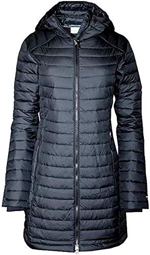 Columbia Women's White Out Mid Omni-Heat Long Hooded Jacket Coat Puffer (XS, Black)