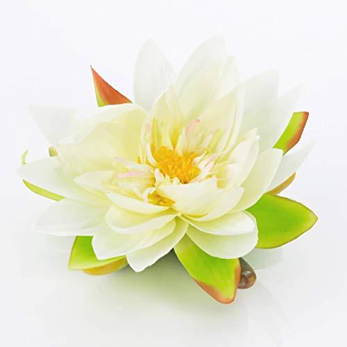 artplants.de Textil - Seerose Sanjana, schwimmend, weiß, Ø 16cm - künstliche Lotusblüte - Kunstblume