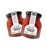 LA PASTORA | Producto Gourmet | Pack/de 2 Tarros de Pimientos Rojos en Lágrima | Tarro de 122 gr. | 65 Piezas | Pimientos Lágrima | Pimientos Rojos en Conserva | Ingrediente Perfecto en Tus Comidas