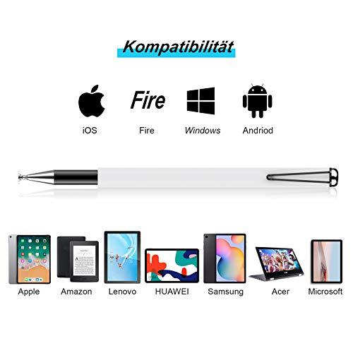 MEKO Tablet Stift [Regenbogen Serie] 2020 2 in 1 Universal Kugelschreiber Disc Touch Pen 100% kompatibel mit Allen Tablets Touchscreen iPhone iPad Surface Huawei usw, 5 Ersatzspitzen (Weiß)